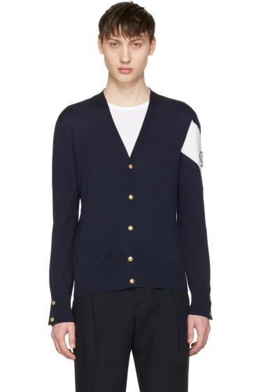 Moncler Gamme Bleu - Navy Contrast Sleeve Cardigan