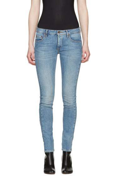 Off-White - Blue Diagonal Roses Skinny Jeans