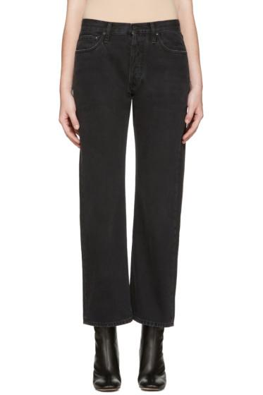 Off-White - Black Scratch Boyfriend Diagonal Jeans