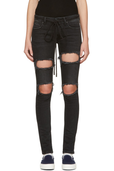Off-White - Black Diagonal Ripped Skinny Jeans