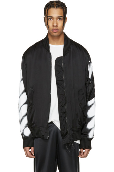 Off-White - Black Diagonal Spray Bomber Jacket