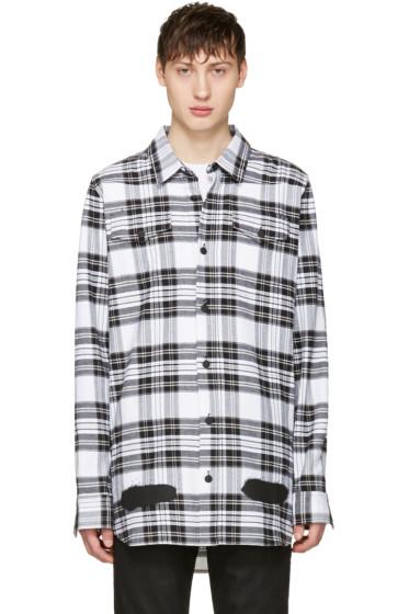 Off-White - ホワイト チェック ダイアゴナル スプレー シャツ