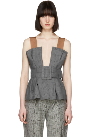 Toga - Grey Belted Bustier Top