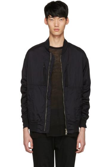 Diet Butcher Slim Skin - Black Garment-Dyed Flight Jacket