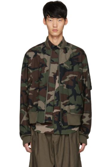 Johnlawrencesullivan - Khaki Camo Bomber Jacket