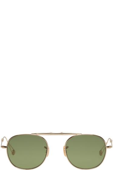 Garrett Leight - Gold Van Buren Aviator Sunglasses