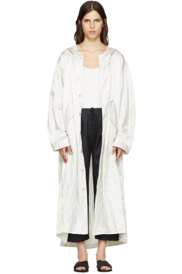Nomia - Ivory Extra Long Satin Coat