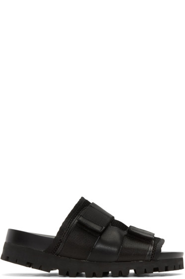 D by D - Black Mesh Velcro Sandals