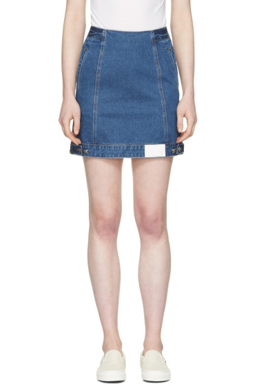 SJYP - Blue Denim Button Miniskirt