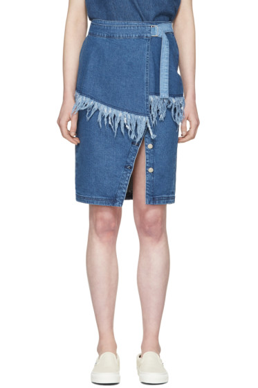 SJYP - Blue Denim Frayed Skirt