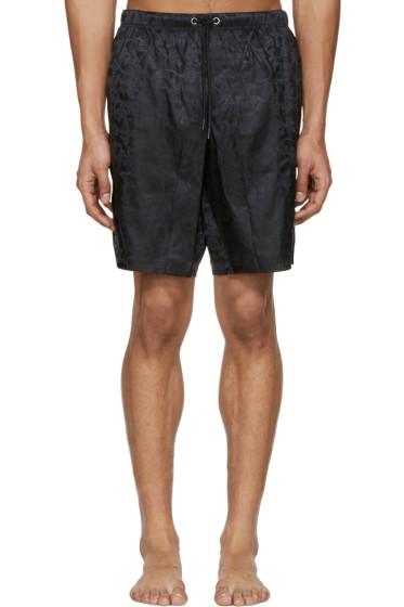 Versace Underwear - Black Jacquard Swim Shorts