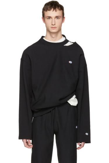 Vetements - Black Champion Edition Cut Out Neckline Pullover
