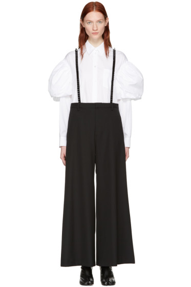 Noir Kei Ninomiya - Black Studded Suspender Trousers