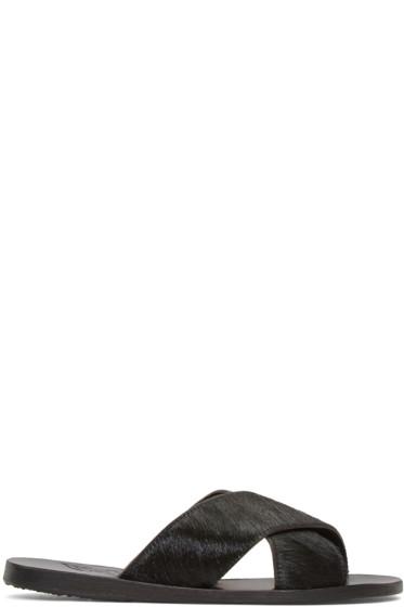 Ancient Greek Sandals - ブラック カーフヘア タイス サンダル