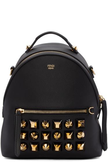 Fendi - Black Studded Messenger Backpack