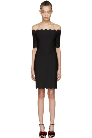 Fendi - Black Scalloped Off-the-Shoulder Dress