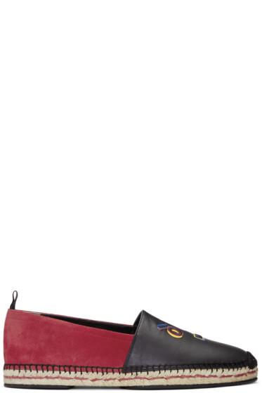 Fendi - Black & Red 'Fendi Faces' Espadrilles