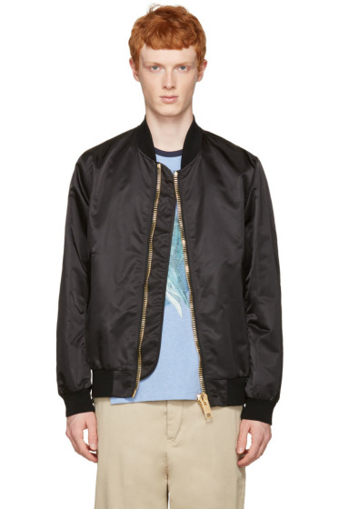 Palm Angels - Black Maxi Puller Bomber Jacket