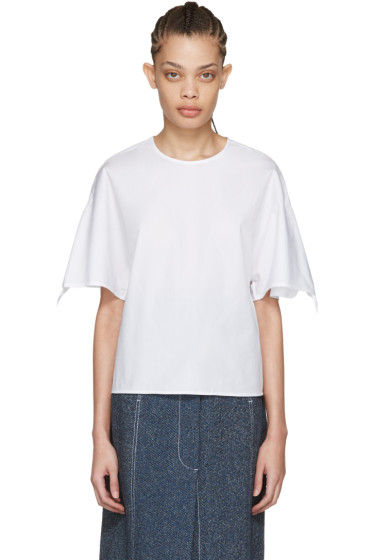 Rosetta Getty - White Knot Sleeves Blouse