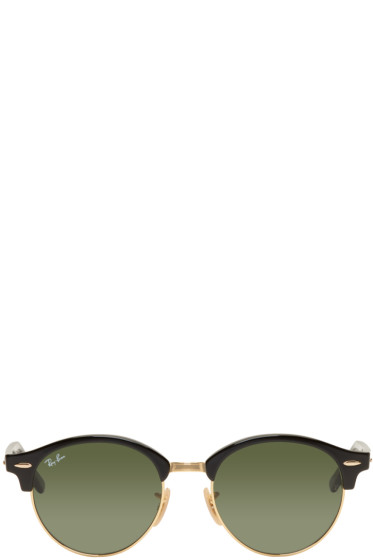 Ray-Ban - Black & Gold Clubround Sunglasses
