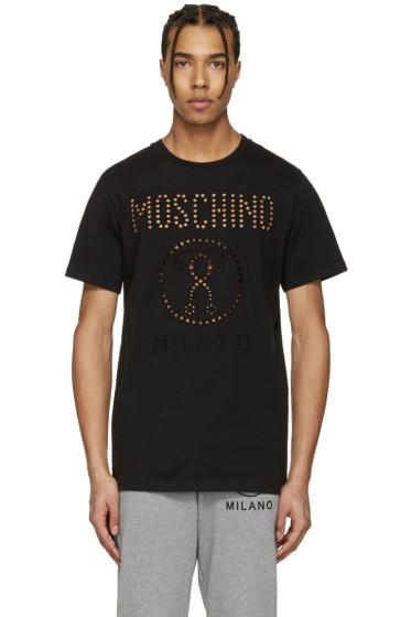 Moschino - ブラック カットアウト ロゴ T シャツ