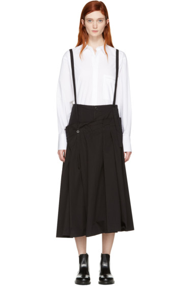 Y's - Black Long Suspender Skirt