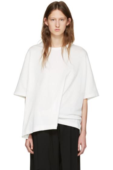 Y's - White Draped T-Shirt