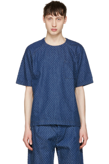 Sunnei - Blue Denim Lasered T-Shirt