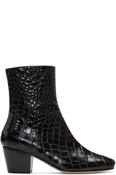 Dorateymur - ブラック クロコエンボス ドループ ノーズ ブーツ