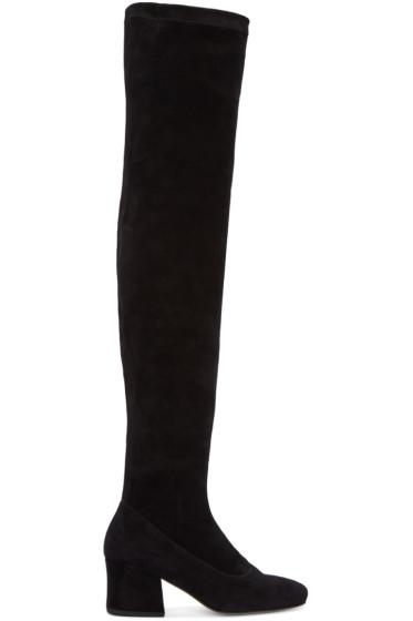 Dorateymur - ブラック スエード シビル オーバーザニー ブーツ