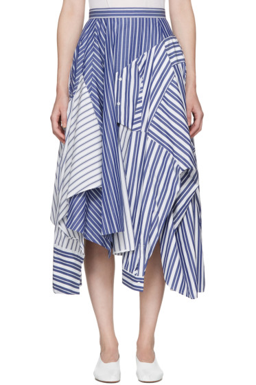 Enfold - Navy & White Reconstructed Shirting Skirt