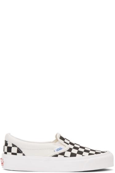 Vans - Black & White Checkerboard OG Classic LX Slip-On Sneakers