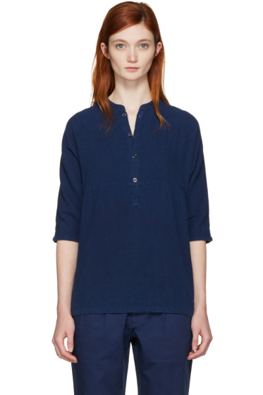 Blue Blue Japan - Indigo Stand Collar Blouse
