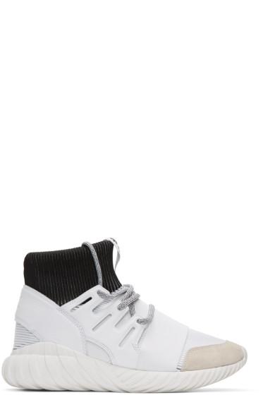 adidas Originals - White Tubular Doom High-Top Sneakers