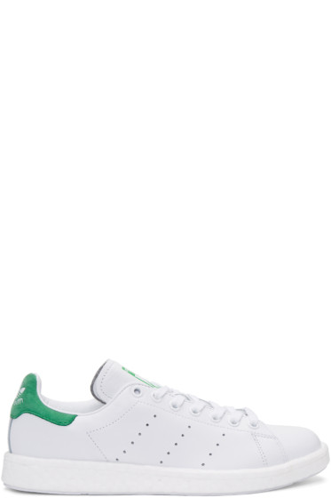 adidas Originals - White & Green Stan Smith OG BOOST Sneakers
