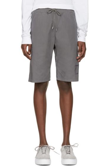 John Elliott - Grey Embroidered Shorts