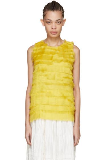 Sara Lanzi - Yellow Silk Net Tank Top