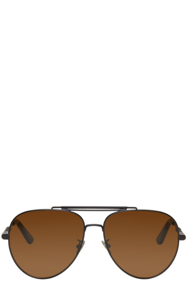 Bottega Veneta - Black Teardrop Aviator Sunglasses