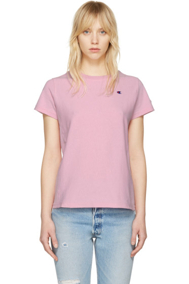 Champion Reverse Weave - Pink Small Logo T-Shirt