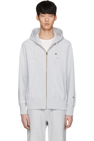 Champion Reverse Weave - Grey Logo Zip Hoodie