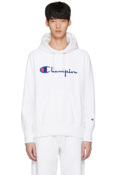 Champion Reverse Weave - White Logo Hoodie