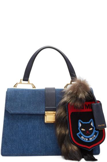 Miu Miu - Blue Denim Raccoon Tail & Cat Bag