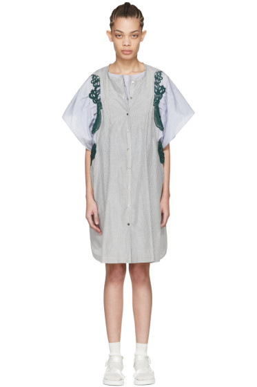 Harikae  - Blue & Grey Striped Lace Dress