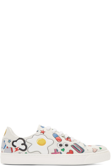 Anya Hindmarch - White All Over Wink Stickers Tennis Sneakers