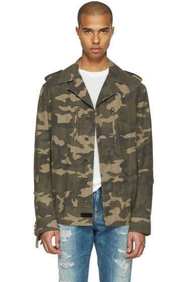 Faith Connexion - Green Camouflage Fringe Jacket