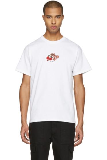 Noah - White Embroidered Paisley Logo T-Shirt