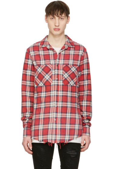 Amiri - Red Plaid Grunge Shirt