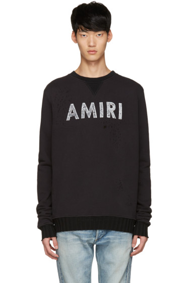 Amiri - Black Distressed Logo Pullover