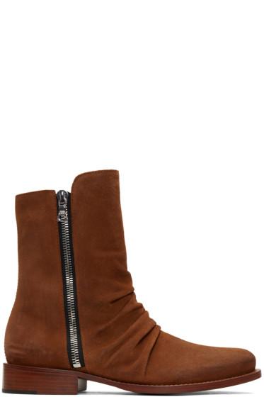 Amiri - ブラウン スエード スタック ブーツ