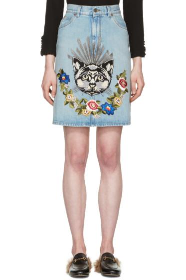 Gucci - ブルー デニム キャット スカート